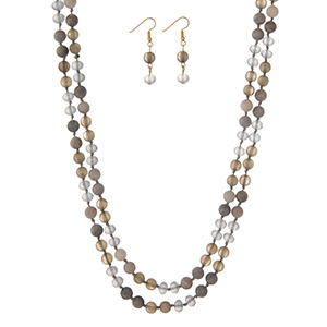 """Gray natural stone beaded wrap necklace with matching fishhook earrings. Approximately 60"""" in length."""