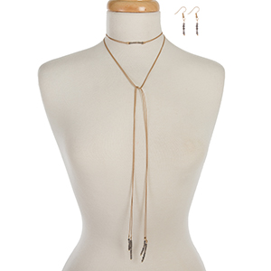 """Tan waxed cord wrap necklace set displaying gray beads and matching fishhook earrings. Approximately 52"""" in length."""