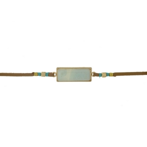 """Brown faux suede choker with an amazonite stone and gold tone accents. Approximately 12"""" in length."""
