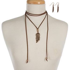 """Brown faux suede wrap choker with a gold tone feather pendant and matching fishhook earrings. Approximately 76"""" in length."""