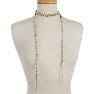 """Amazonite beaded, open wrap necklace with a matte finish and gold tone accents on the ends. Beads are approximately 8mm and necklace measures 66"""" in length."""