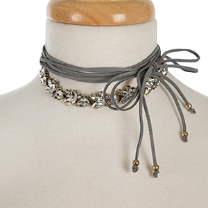 """Gray faux suede wrap choker with a clear rhinestone focal. Approximately 72"""" in length."""