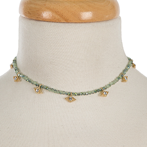 """Light green beaded choker with clear rhinestone accents. Approximately 12"""" in length."""