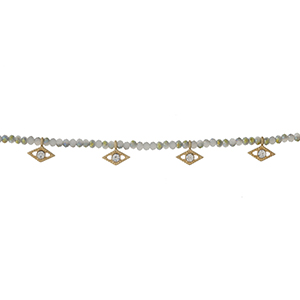 """Gray and ivory beaded choker with clear rhinestone accents. Approximately 12"""" in length."""