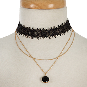 """Black lace and gold tone layered choker with a black stone pendant. Approximately 12"""" and 13"""" in length."""