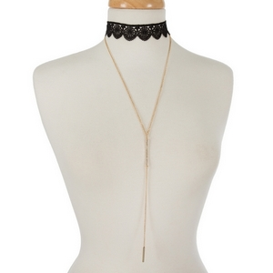 """Black crocheted choker set with a gold tone 'Y' necklace accented with clear rhinestones. Choker is approximately 12"""" in length and necklace is 24"""" in length."""