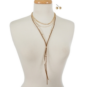 """Gold tone and brown faux suede layered choker  with matching stud earrings. Approximately 12"""" and 24"""" in length."""
