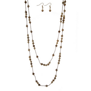 "Tan cord wrap necklace set featuring picture jasper natural stone beads and matching fishhook earrings. Approximately 72"" in length."