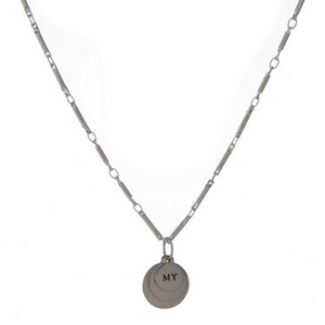 "Dainty silver tone necklace featuring stacked circle pendants, stamped with ""My Heart Is Full."""