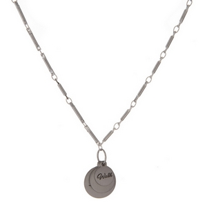 "Dainty silver tone necklace featuring stacked circle pendants, stamped with ""Walk By Faith."""