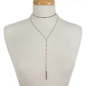 """Dainty silver tone two layer necklace with a choker and a 'Y' layer. Approximately 12"""" and 18"""" in length."""