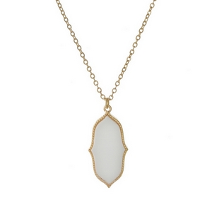 """Dainty gold tone necklace featuring a white faux stone pendant. Approximately 16"""" in length."""