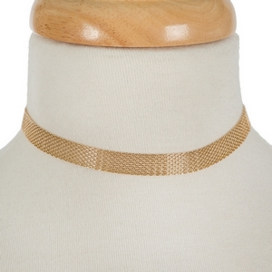 """Gold tone mesh metal choker with stud earrings. Approximately 12"""" in length."""