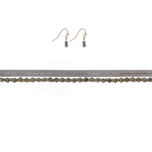 """Gray faux suede and beaded choker with matching fishhook earrings. Approximately 12"""" in length."""