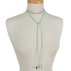 """Mint green faux suede wrap choker featuring amazonite beads. Approximately 12"""" in length."""