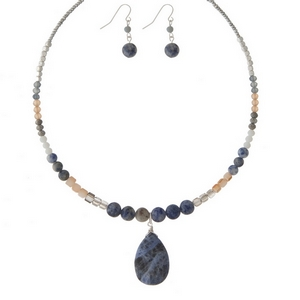 """Silver tone memory wire choker set featuring blue and sodalite natural stones and matching fishhook earrings. Approximately 6"""" in diameter."""