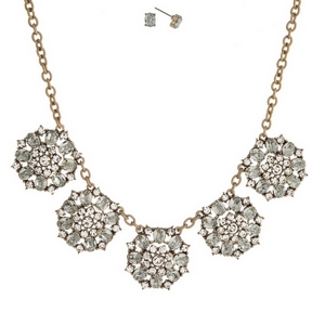 """Burnished gold tone necklace set with clear rhinestones and matching stud earrings. Approximately 16"""" in length."""