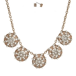 """Burnished gold tone necklace set with clear and peach rhinestones and matching stud earrings. Approximately 16"""" in length."""