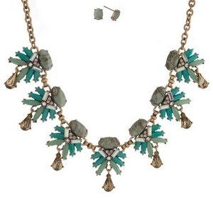 """Gold tone necklace set with mint green and turquoise stones and topaz rhinestone accents. Approximately 16"""" in length."""