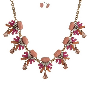 """Gold tone necklace set with hot pink and peach stones and clear rhinestone accents. Approximately 16"""" in length."""