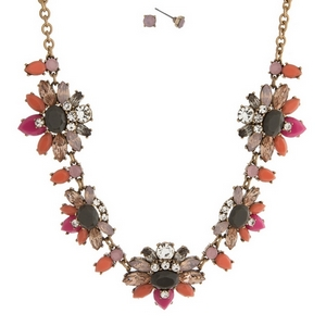 """Gold tone necklace set with gray, pink, and peach flowers, accented with clear rhinestones and matching stud earrings. Approximately 16"""" in length."""