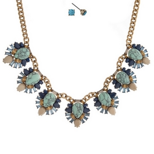 """Gold tone necklace set with turquoise stones surrounded by blue and beige stones and matching stud earrings. Approximately 16"""" in length."""