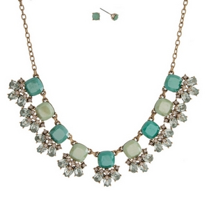 """Gold tone necklace set with mint green and turquoise stones accented with opal rhinestones and matching stud earrings. Approximately 16"""" in length."""