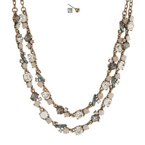 """Burnished gold tone necklace set with two layers of clear, opal and gray rhinestones and matching stud earrings. Approximately 16"""" in length."""