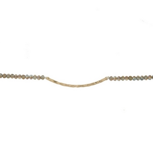 """Gold tone, dainty choker featuring iridescent faceted beads and a hammered bar focal. Approximately 12"""" in length."""