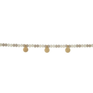 """Gray and opal beaded choker with gold tone circle accents. Approximately 12"""" in length."""