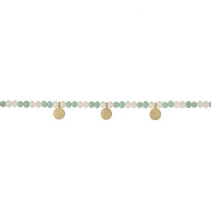 """Mint green and opal beaded choker with gold tone circle accents. Approximately 12"""" in length."""