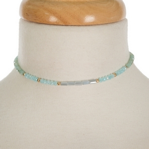 """Mint green, turquoise and gray beaded choker with gold tone accents. Approximately 12"""" in length."""