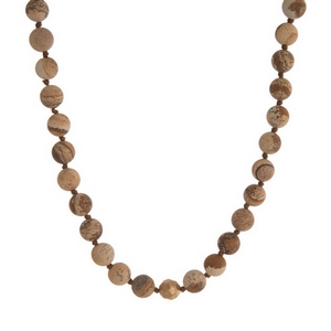 "Picture jasper natural stone beaded necklace with gold tone accents. Approximately 16"" in length."