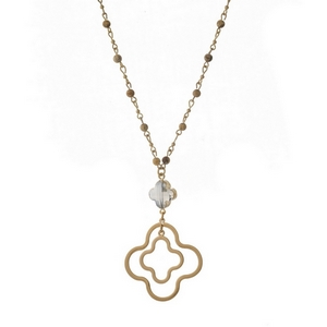 """Gold tone necklace with picture jasper beads and an open clover pendant. Approximately 32"""" in length."""