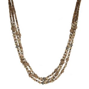 """Brown wooden bead, layered necklace with gray and ivory faceted and wooden beads. Approximately 28"""" in length."""