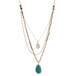 "Gold tone necklace featuring three layers, mint green and ivory beads, and a turquoise natural stone pendant. Approximately 28"" to 32"" in length."