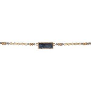 """Gray and opal beaded choker with a labradorite stone focal. Approximately 12"""" in length."""