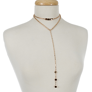 """Rose gold tone layered choker and 'Y' necklace. Approximately 12"""" and 14"""" in length."""