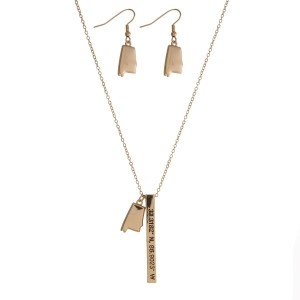 "Gold tone necklace set with a Alabama pendant and a bar pendant stamped with the coordinates. Approximately 27"" in length."