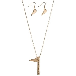 "Gold tone necklace set with a Kentucky pendant and a bar pendant stamped with the coordinates. Approximately 27"" in length."