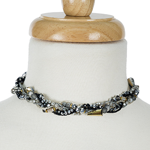 """Black and gray beaded, braided choker. Approximately 12"""" in length."""