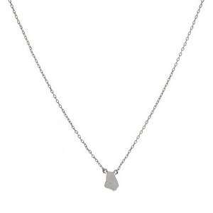 "Dainty silver tone necklace with a state of Georgia pendant. Approximately 16"" in length."