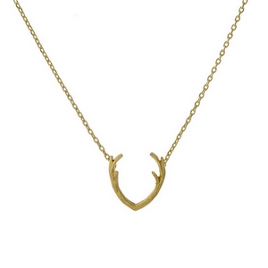 """Dainty gold tone necklace with an antler pendant. Approximately 16"""" in length."""
