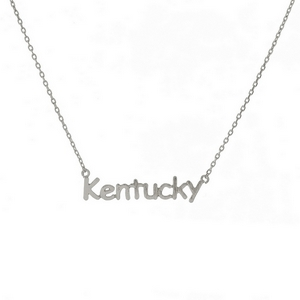 "Dainty silver tone necklace with a Kentucky pendant. Approximately 16"" in length."