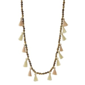 """Gold tone necklace with picture jasper natural stone beads and ivory and blush thread tassels. Approximately 32"""" in length."""