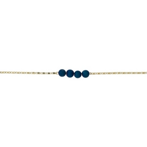 """Gold tone necklace with a blue druzy natural stone bar pendant. Approximately 13"""" in length."""