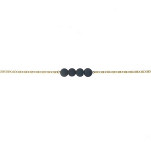 """Gold tone necklace with a black druzy natural stone bar pendant. Approximately 13"""" in length."""