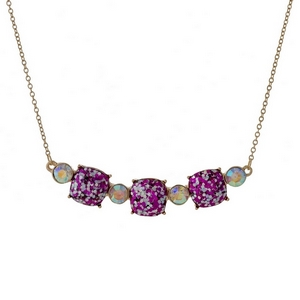 "Gold tone necklace with three fuchsia glitter squares. Approximately 16"" in length."