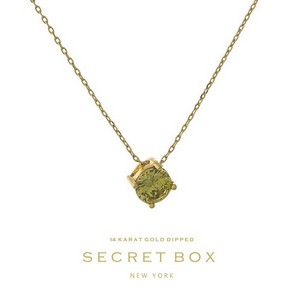 "Secret Box 14 karat gold dipped over brass necklace with an olive green rhinestone pendant. Approximately 16"" in length."