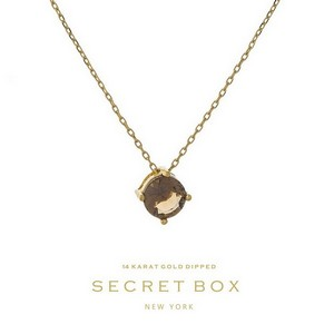 "Secret Box 14 karat gold dipped over brass necklace with a topaz rhinestone pendant. Approximately 16"" in length."